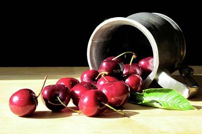 Cherries In Pewter Tankard Art Print by Lillian Bell