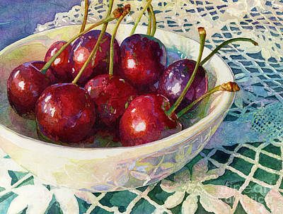 Classical Masterpiece Still Life Paintings - Cherries Jubilee by Hailey E Herrera