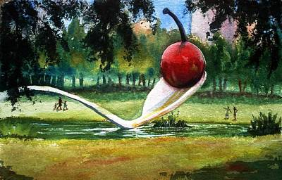 Painting - Cherry And Spoon by Marilyn Jacobson