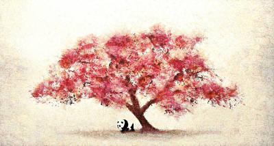 Cherry Blossom And Panda Art Print