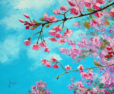 Cherry Blossom Trees Photograph - Cherry Blossom Blue by Jean Marc Janiaczyk