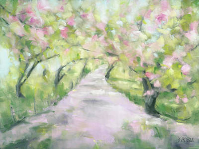 Cherry Blossoms Painting - Cherry Blossom Bridle Path Central Park by Beverly Brown
