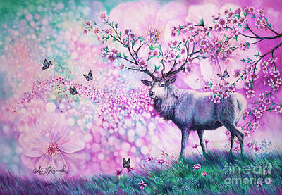 Colored Pencil Painting - Cherry Blossom Deer by Anne Koivumaki - Fine Art Anne