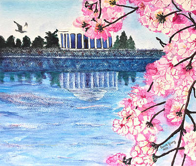 Jefferson Memorial Painting - Cherry Blossom Festival by Bonnie Young