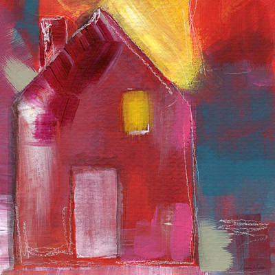 Modern Contemporary Art Mixed Media - Cherry Blossom House- Art By Linda Woods by Linda Woods