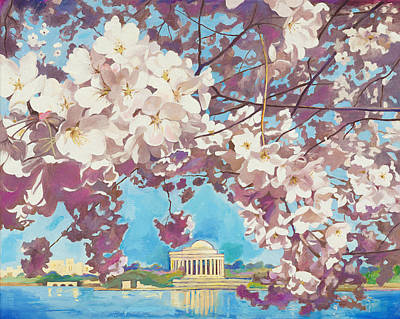 Jefferson Memorial Painting - Cherry Blossom. Jefferson Memorial. Tidal Basin. April by Zachary Sasim