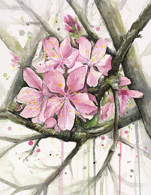 Pink Flower Branch Painting - Cherry Blossom by Olga Shvartsur