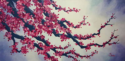 Painting - Cherry Blossom Painting 2 by Shiela Gosselin