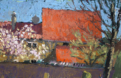 Painting - Cherry Blossom Spring And Red Roofs by Martin Stankewitz