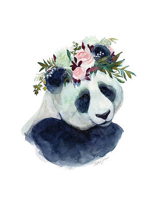 Panda Bears Painting - Cherry Blossom by Stephie Jones