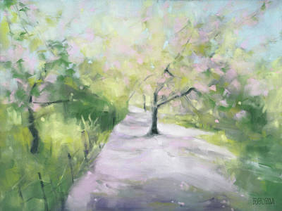 Cherry Blossoms Painting - Cherry Blossom Tree Central Park Bridle Path by Beverly Brown