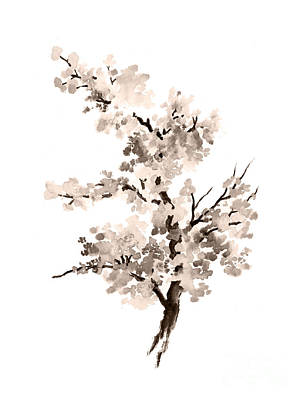 Cherry Blossoms Painting - Cherry Blossom Tree Drawing Watercolor Painting by Joanna Szmerdt