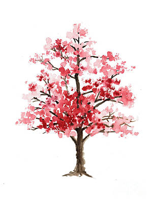 Sakura Painting - Cherry Blossom Tree Minimalist Watercolor Painting by Joanna Szmerdt