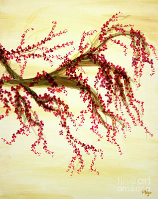 Cherry Blossoms Painting - Cherry Blossom Tree Panel 3 by Phung Martin