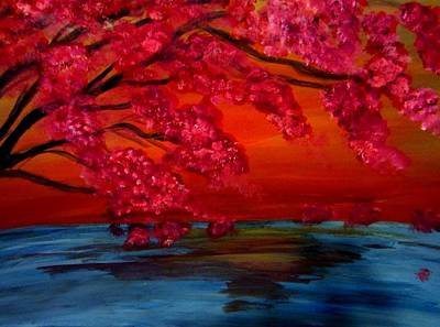 Water Color Painting - Cherry Blossom Tree by Stephanie Zelaya
