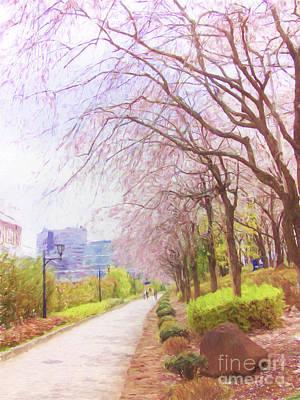 Katharine Hepburn - Cherry Blossom Trees by Andrea Anderegg