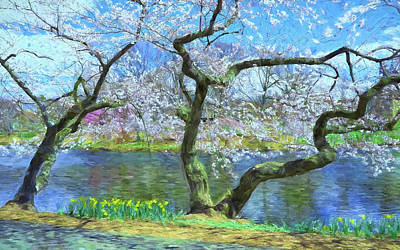 Photograph - Cherry Blossom Trees Of Branch Brook Park 10 - Photopainting by Allen Beatty