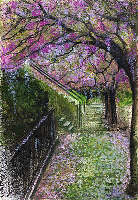 Cherry Blossoms Painting - Cherry Blossom Walk by Remy Francis