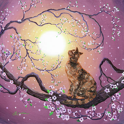Cat Sunset Painting - Cherry Blossom Waltz  by Laura Iverson