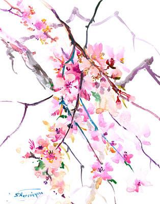 Cherry Blossoms Drawing - Cherry Blossom, Washington Dc by Suren Nersisyan