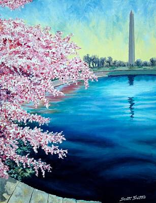 Tidal Basin Painting - Cherry Blossom Washington Monument by Scott Suitts