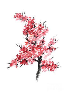 Cherry Blossom Watercolor Poster Art Print