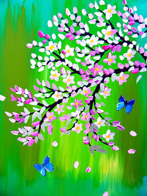 Royalty-Free and Rights-Managed Images - cherry blossom with green - modern Japanese style art by Cathy Jacobs