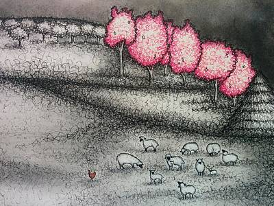 Cherry Blossoms And Sheep Art Print by Summer Porter