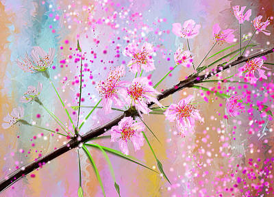 Cherry Tree Painting - Cherry Blossoms Art by Lourry Legarde