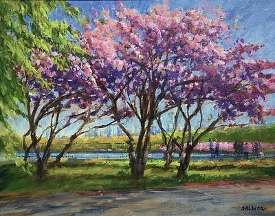 Painting - Cherry Blossoms, Central Park by Peter Salwen