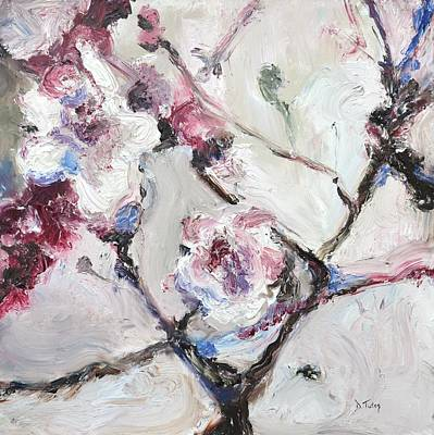 Painting - Cherry Blossoms In Abstraction by Donna Tuten