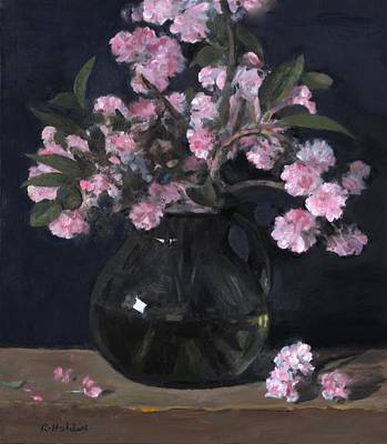 Painting - Cherry Blossoms In Green Glass Pitcher by Robert Holden