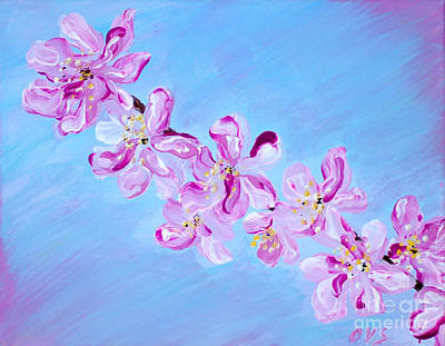 Painting - Cherry Blossoms. Thank You Collection by Oksana Semenchenko