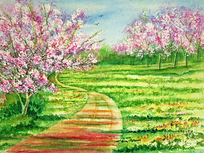 Trees Painting - Cherry Blossoms by Kathryn Duncan