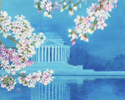 Tidal Basin Painting - Cherry Blossoms by Nancy Shen