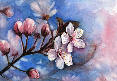 Pink Flower Branch Painting - Cherry Blossoms  by Olga Shvartsur