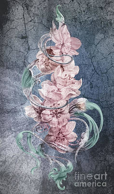 Cherry Blossoms On Vintage Art Print by Irina Effa