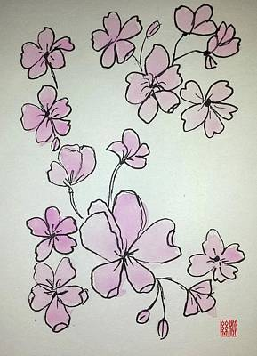 Painting - Cherry Blossoms Sketch by Margaret Welsh Willowsilk