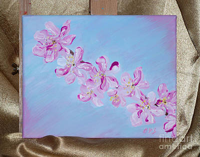 Painting - Cherry Blossons. Thank You Collection by Oksana Semenchenko