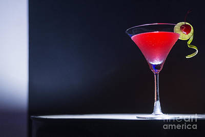 Martini Royalty-Free and Rights-Managed Images - Cherry Martini Cocktail Drink At Bar by Jacek Malipan