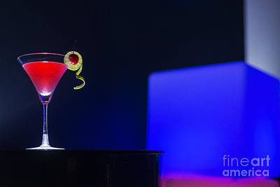 Martini Royalty-Free and Rights-Managed Images - Cherry Martini Cocktail Drink At Night In Modern Bar by Jacek Malipan