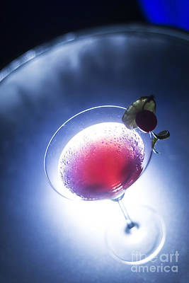 Martini Royalty-Free and Rights-Managed Images - Cherry Martini Cocktail Drink At Night by Jacek Malipan