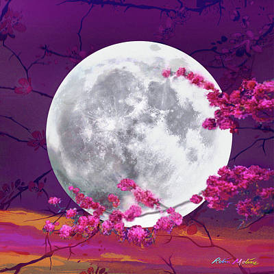 Digital Art -  Cherry Moon  by Robin Moline
