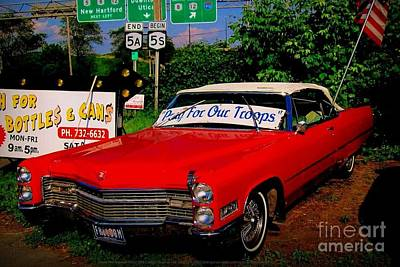 Art Print featuring the photograph Cherry Red American Patriot 1966 Cadillac Coupe De Ville by Peter Gumaer Ogden