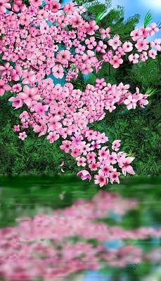 Digital Art - Cherry Reflection by Douglas Day Jones