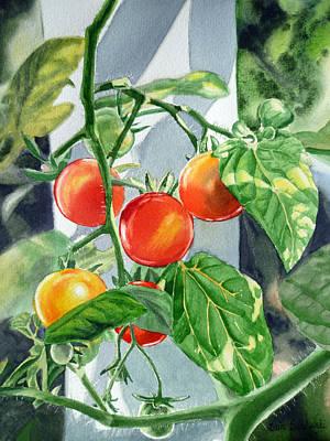 Red Tomatoes Painting - Cherry Tomatoes by Irina Sztukowski