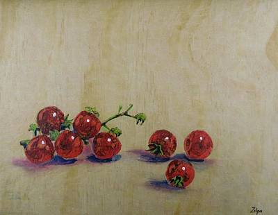 Painting - Cherry Tomatoes On Wood by Zilpa Van der Gragt