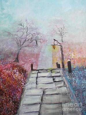 Painting - Cherry Trees In Fog by Donna Dixon