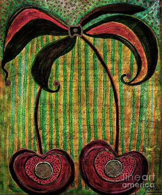 Mixed Media - Cherry Twosome by Jolanta Anna Karolska