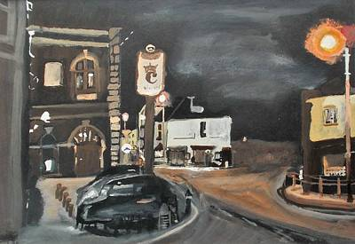Painting - Chertsey At Night 1 by Carole Robins